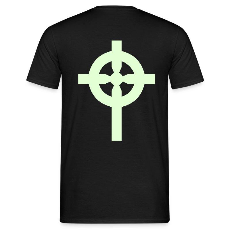 T-Shirt noir croix celte phosphorescente derrière - T-shirt Homme