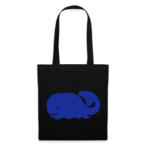 Blue Whale (Black Shopping Bag) - Tote Bag