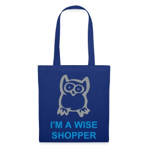 Wise Owl (Blue Shopping Bag) - Tote Bag