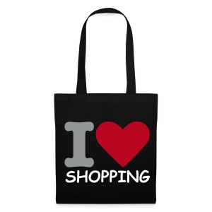 I Love Shopping (Black Shopping Bag) - Tote Bag