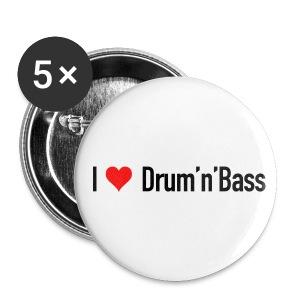 I love Drum 'n' Bass Buttons - Small - Buttons mittel 32 mm