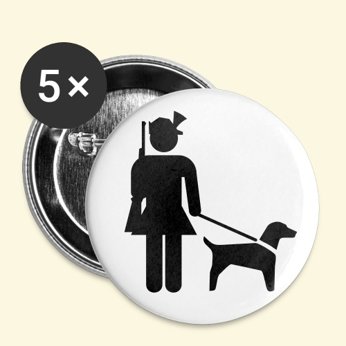 5 Buttons Hundeführerin - Buttons groß 56 mm