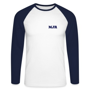 Training Shirt w/initials (White/Navy) - Men's Long Sleeve Baseball T-Shirt