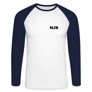 Training Shirt w/initials (Silver/Charcoal) - Men's Long Sleeve Baseball T-Shirt