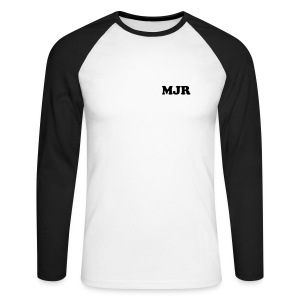 Training Shirt w/initials (White/Black) - Men's Long Sleeve Baseball T-Shirt