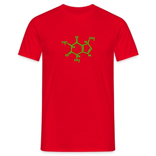 Caffeine : Neon Green on Red - Men's T-Shirt
