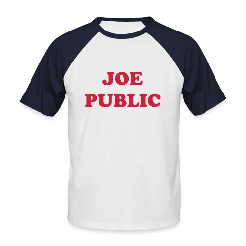 JOE PUBLIC - blue with red - Men's Baseball T-Shirt
