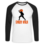 Long sleeve shirts ~ Men's Long Sleeve Baseball T-Shirt ~ Ginger Ninja long Sleeve