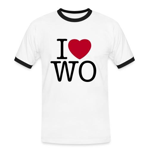 I love WO Ringer Tee - Männer Kontrast-T-Shirt