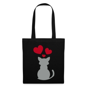 Kitten Hearts (Black Shopping Bag) - Tote Bag