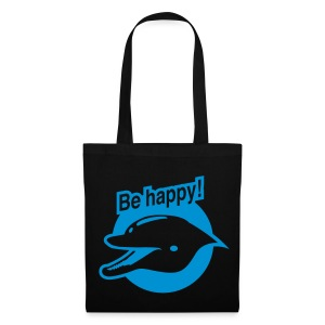 Smiling Dolphin (Black Shopping Bag) - Tote Bag