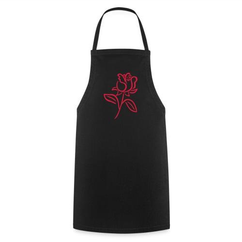 tablier avec rose rouge - Tablier de cuisine