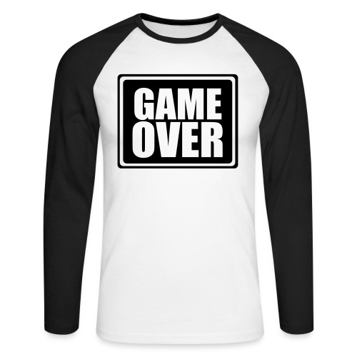 Game Over - White Male - Men's Long Sleeve Baseball T-Shirt