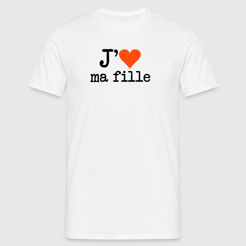 Blanc j'aime ma fille Hommes - T-shirt Homme