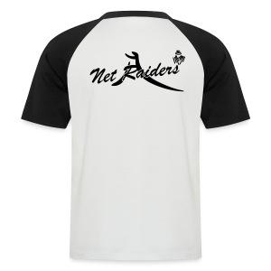Uomo: T-Shirt Bianca/Nera - Logo B&W sul retro - Maglia da baseball a manica corta da uomo