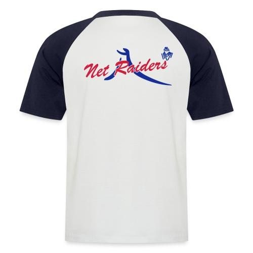 Uomo: T-Shirt Bianca/Navy - Logo colori sul retro  - Maglia da baseball a manica corta da uomo