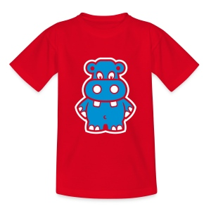 Cute For Kids - Blue Hippo (Red) - Teenage T-shirt