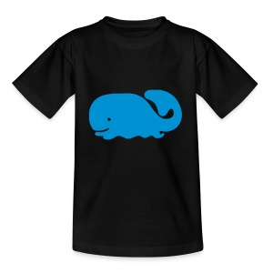 Cute For Kids - Blue Whale (Black) - Teenage T-shirt