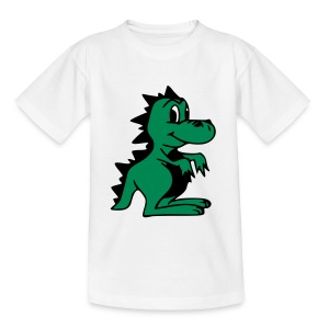Cute For Kids - Green Dragon (White) - Teenage T-shirt