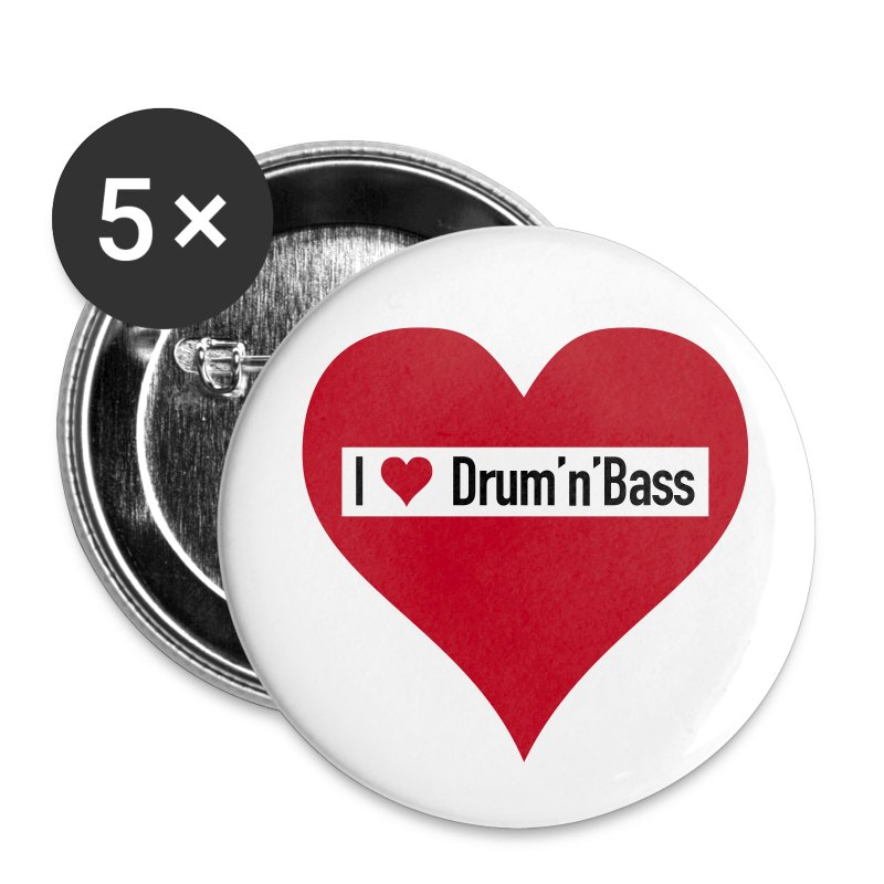 I love Drum 'n' Bass Buttons - Large - Buttons groß 56 mm