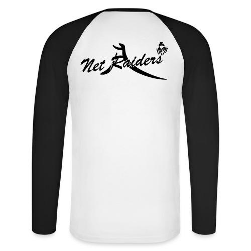 Uomo: T-Shirt m.Lunga Bianca/Nera - Logo B&W sul retro - Maglia da baseball a manica lunga da uomo