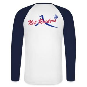 Uomo: T-Shirt m.Lunga Bianca/Navy - Logo a colori sul retro - Maglia da baseball a manica lunga da uomo