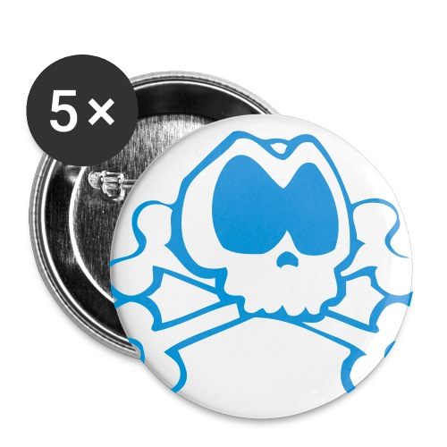 Badge avec logo bleu clair - Lot de 5 grands badges (56 mm)