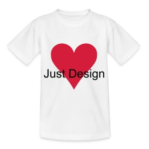 Plain White Tee with Heart Emblem and J Design Lettering - Teenage T-shirt