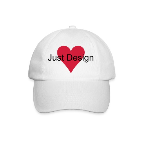 White Baseball Cap - Heart Emblem and J Design Lettering - Baseball Cap