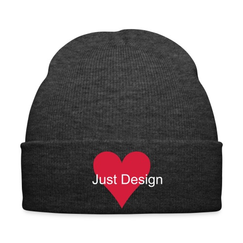Black Winter Hat - Love Heart and J Design Lettering - Winter Hat
