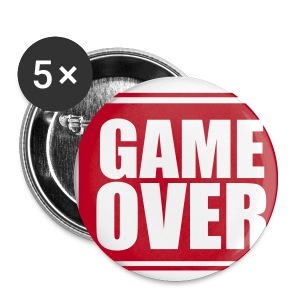 Game Over Badges - 5 Pack - Red - Buttons small 25 mm
