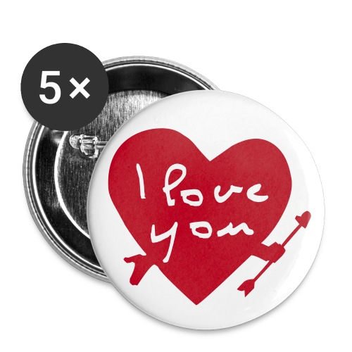 I Love You Badges - Buttons large 2.2''/56 mm (5-pack)
