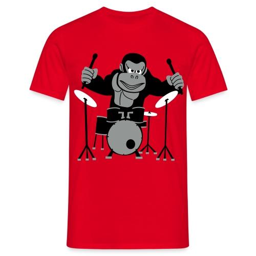 Drumming Gorilla (Red) - Men's T-Shirt
