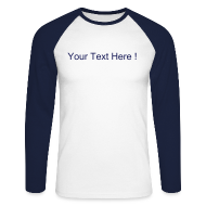 Long sleeve shirts ~ Men's Long Sleeve Baseball T-Shirt ~ Long Sleeve Baseball Tee Navy/White