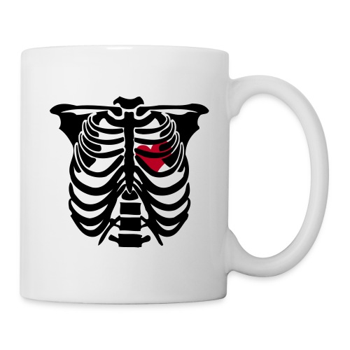 rib cage with heart mug - black - Mug