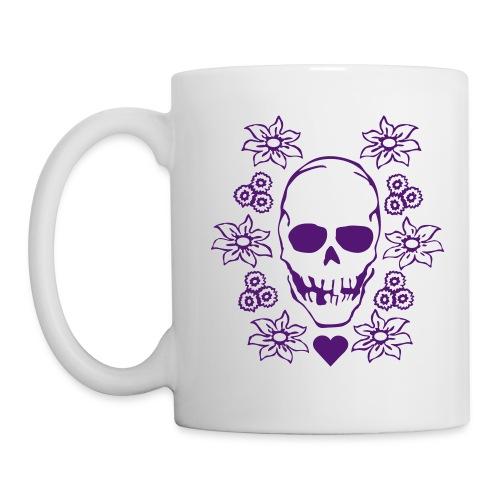 skull and flowers mug - Mug