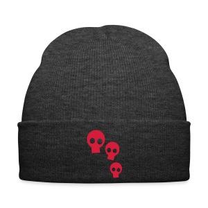 Three Skulls - red/black cap - Wintermütze