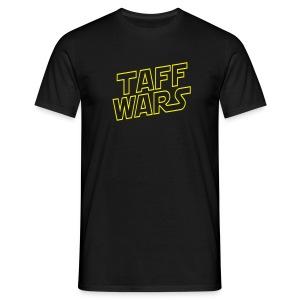 Taff Wars BLACK comfort t-shirt with text on back 2 - Men's T-Shirt