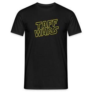 Taff Wars BLACK comfort t-shirt with text on back 2 - Men's T-Shirt