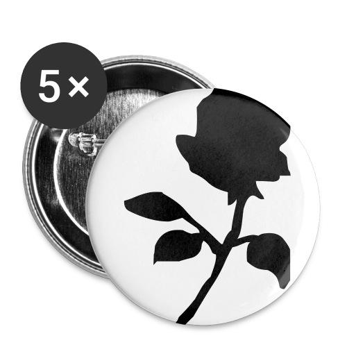 Schwarze Rose - Buttons mittel 32 mm (5er Pack)