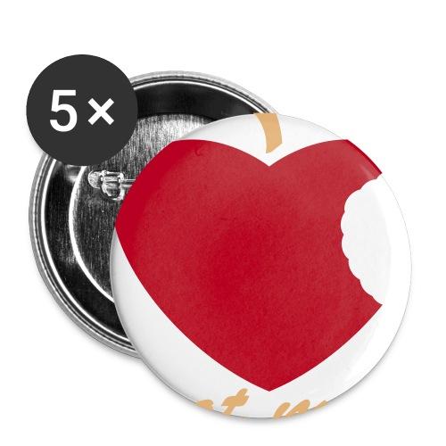 Herz Apfel - Buttons mittel 32 mm (5er Pack)
