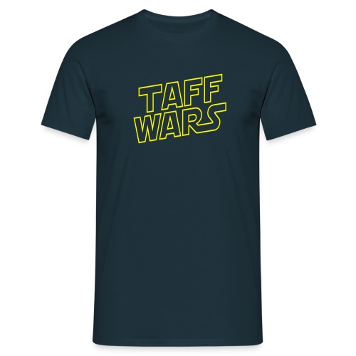 Taff Wars NAVY comfort t-shirt with text on back - Men's T-Shirt