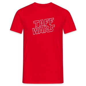 Taff Wars RED comfort t-shirt with text on back - Men's T-Shirt