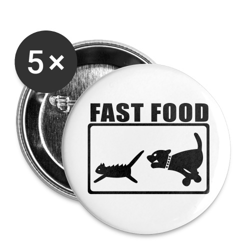 Button Fast Food - Buttons groß 56 mm (5er Pack)