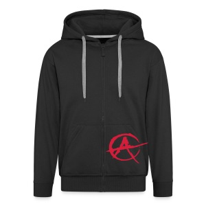 Black hoody with A sign  - Men's Premium Hooded Jacket