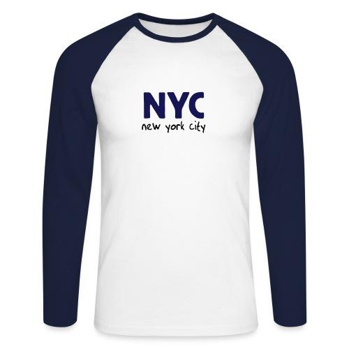 Langarm-Shirt NYC weiß/navy - Männer Baseballshirt langarm