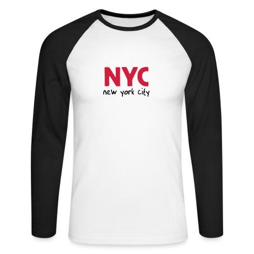 Langarm-Shirt NYC weiß/schwarz - Männer Baseballshirt langarm