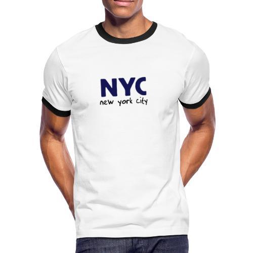 T-Shirt NYC weiß/navy - Männer Kontrast-T-Shirt