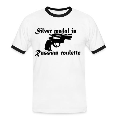 Russian Roulette Funny Men's T-shirt - Men's Ringer Shirt