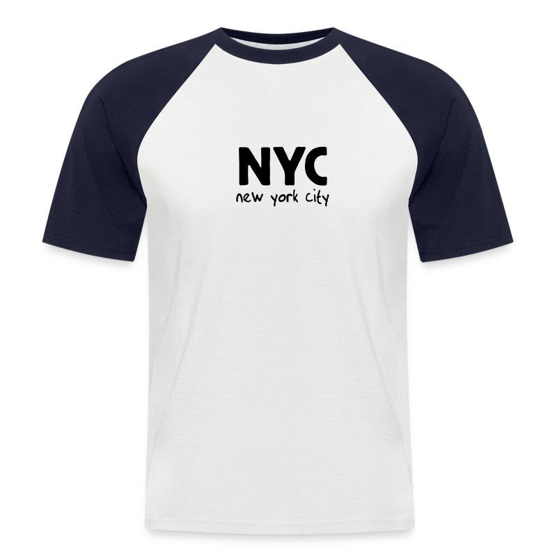 T-Shirt NYC sand/charcoal - Männer Baseball-T-Shirt